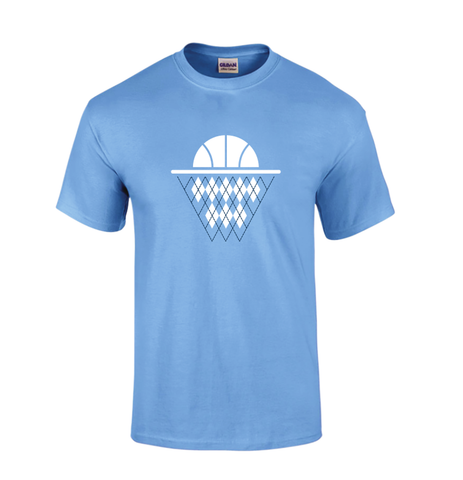 Argyle Basketball Net T-Shirt in Carolina Blue