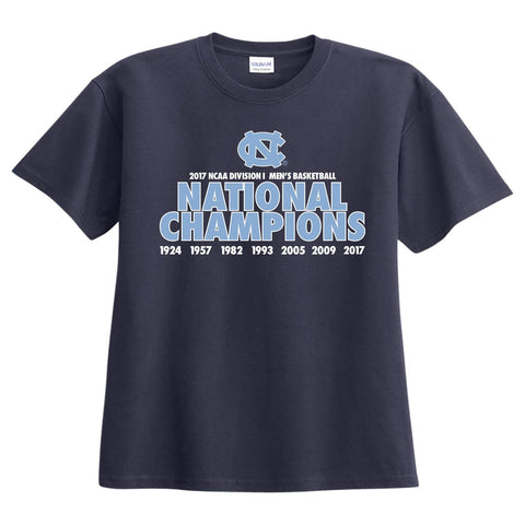 North Carolina Tar Heels 2017 NCAA Men's Basketball National Champions All Years T-Shirt - Navy