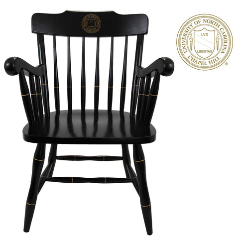 UNC Chapel Hill Wooden Chair with Engraved North Carolina Crest
