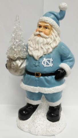 North Carolina Tar Heels Santa With Tree Figure
