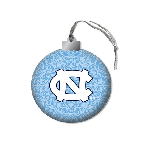 Carolina Blue Round Wooden Christmas Ornament with UNC Logo in White
