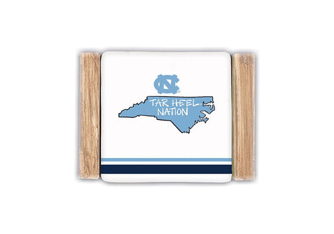 Tar Heel Nation UNC Coaster Set with Wooden Holder