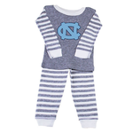 Two Feet Ahead Striped Carolina Baby Pajamas in Grey