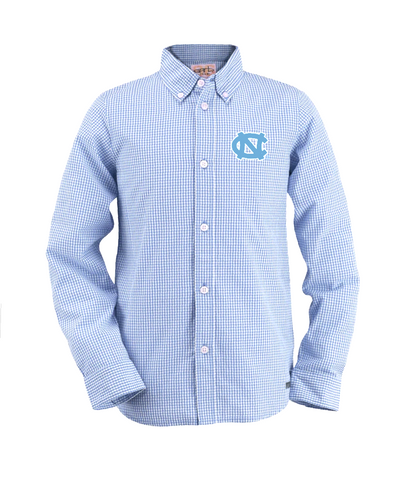 UNC Youth Button Up Long Sleeve in Gingham