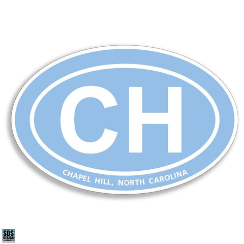 Chapel Hill North Carolina Oval Magnet in Carolina Blue 6""