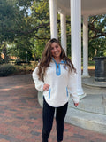 Lumi by Pressbox - Womens White UNC Sherpa Quarter Zip Pullover