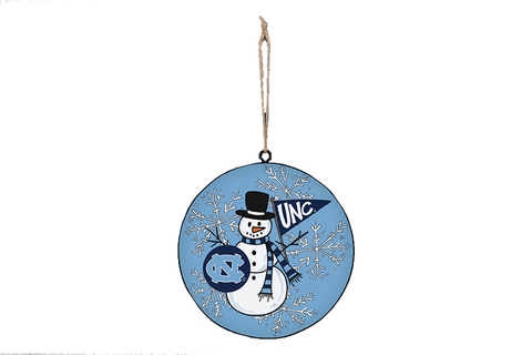 North Carolina Tar Heels Magnolia Lane Snowman Metal Ornament