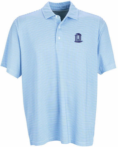 Carolina Blue Dry Fit Striped Polo with OldWell