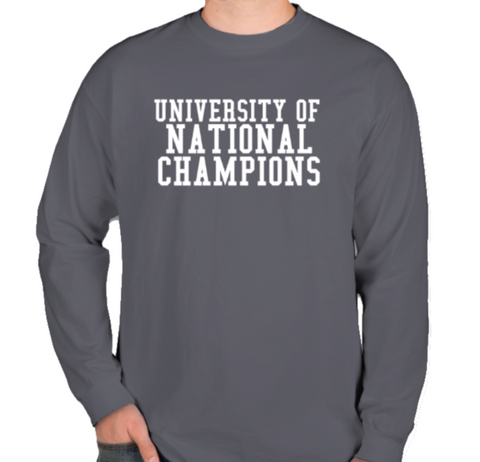 Summery Denim Colored University of National Champions Long Sleeve T-Shirt