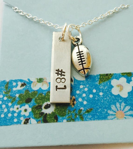 Football Number Necklace, Personalized Football Jewelry, Mom Football Necklace