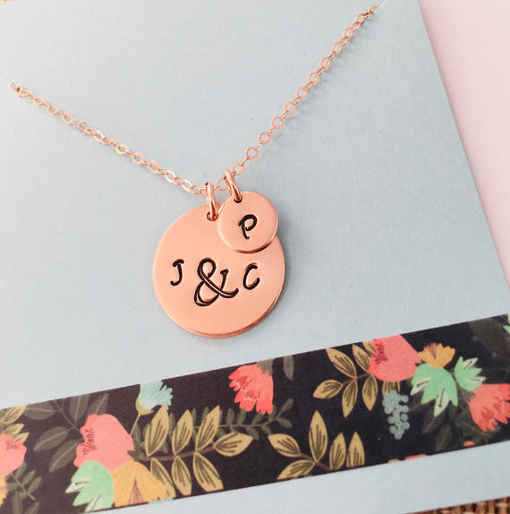 Rose Gold Mom Necklace, Personalized Family Necklace, Mom Necklace,  Rose Gold Jewelry