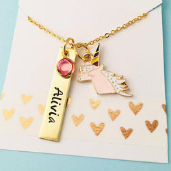 Gold Unicorn Necklace,  Girls Unicorn Necklace Unicorn Name Necklace