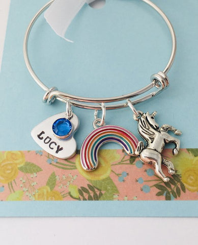 Unicorn Bracelet, Personalized Unicorn Bracelet, Unicorn Jewelry, Little Girl Charm Bracelet
