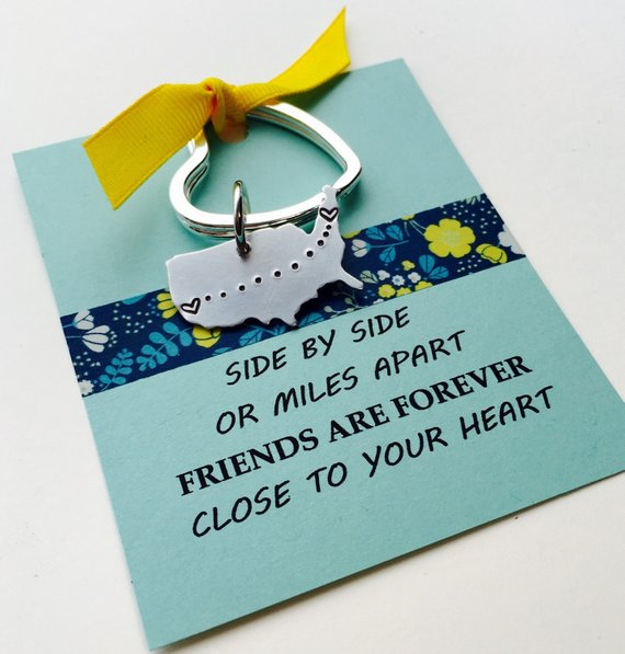 Best Friend Keychain, Personalized United States Keychain, Long Distance Key Chain