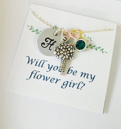 Flower Girl Necklace, Wedding Jewelry, Will you be my flower girl