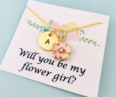 Personalized Flower Girl Necklace, Will you be my flower girl
