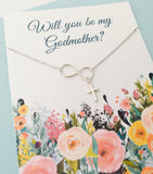 Godmother Necklace, Will you be my Godmother, Godmother gift, Sterling Silver Godmother