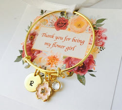 Gold Flower Girl Bracelet, Will you be my Flower Girl, Gift for Flower Girl