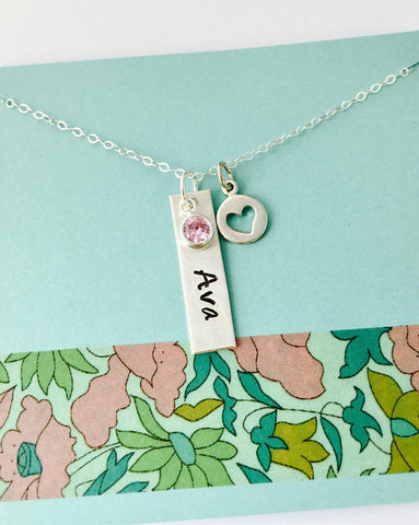 Sterling Silver Name Necklace, Birthstone Name Necklace, Bar Name Necklace