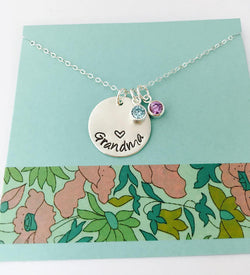 Grandma Birthstone Necklace, Sterling Silver Gigi Necklace