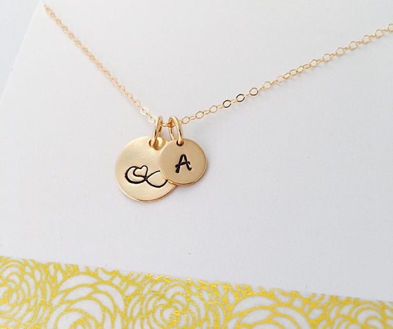 Gold Infinity Necklace, Gold Filled Initial Necklace, Personalized Gold Mom Necklace, Best Friend Jewelry, Infinity Heart Necklac