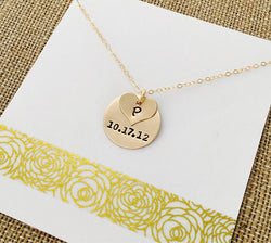 Gold Date Necklace, Personalized Mom Necklace, Custom 14k Gold Filled