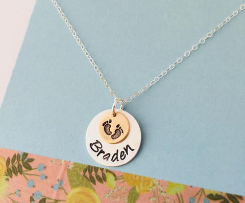 New Mom Necklace, Personalized Baby Feet Necklace, Mommy Date Necklace, Sterling Silver, Gold