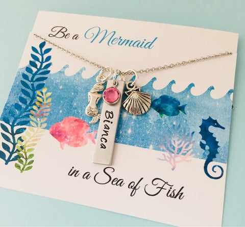 Personalized  Mermaid Necklace, Mermaid Name Necklace, Little Girls Jewelry, Mermaid Birthday