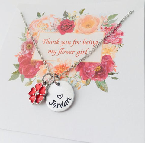Thank you for being my Flower Girl, Flower Girl Necklace, Gift for Flower Girl