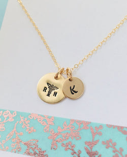 Personalized Nurse Necklace, RN Necklace, Gold Nurse Necklace