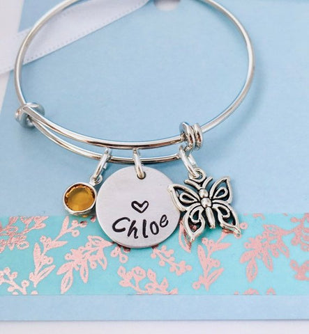 Butterfly Bracelet, , Personalized Butterfly Bracelet, Children's Name Jewelry, Personalized Name Bracelet, Girls