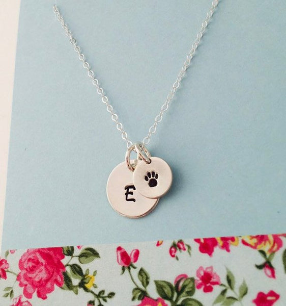 Pet paw necklace, pet remembrance, Pet initial