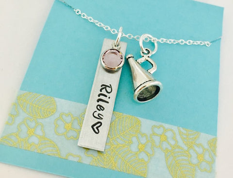 Personalized Cheerleading Necklace, Megaphone Necklace