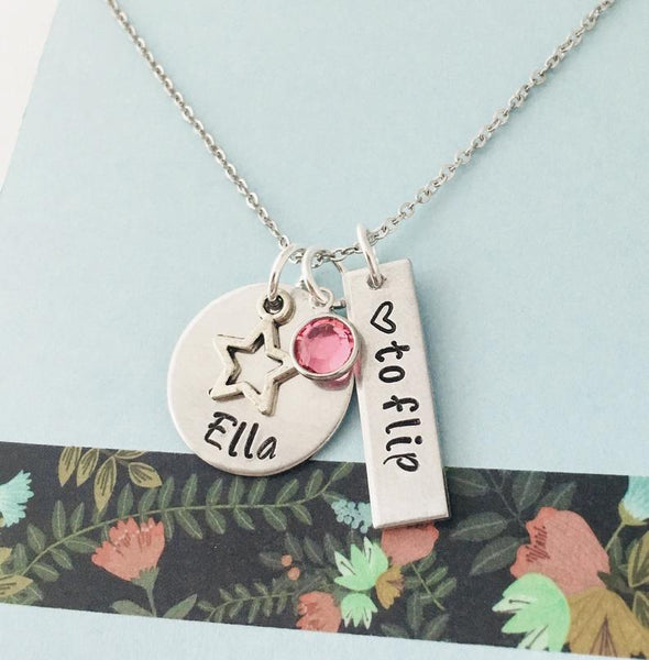 Personalized Gymnastics Necklace, Gymnast Necklace, Personalized Name Necklace