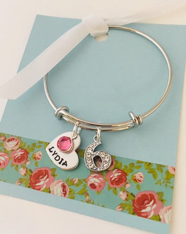 6th birthday bracelet, 5th birthday bracelet, Birthday bracelet