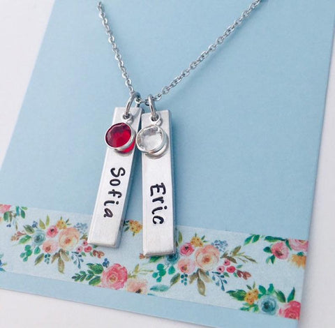 2 birthstone bar necklace