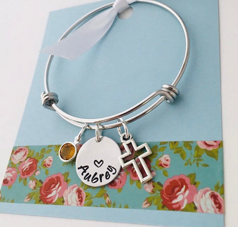 cross name  bracelet