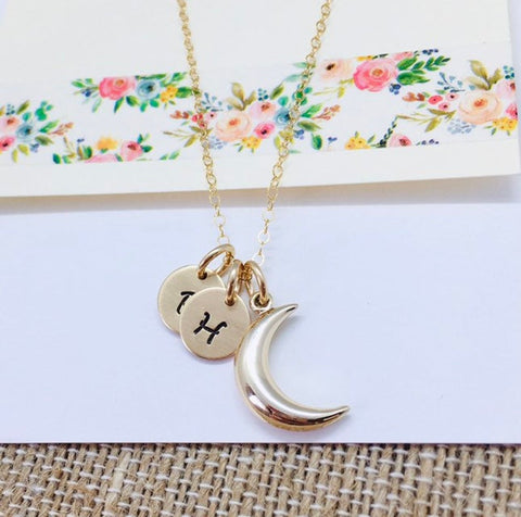 Moon Initial Necklace