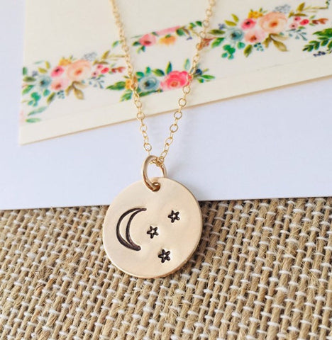 Mommy Moon Necklace, Moon and Stars Necklace