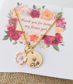 Gold Flower girl necklace