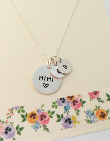 Mimi Necklace, Sterling Silver Grandma Necklace