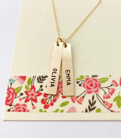kids names gold bar necklace