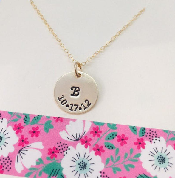 date initial necklace