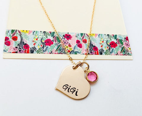 gold heart grandma necklace