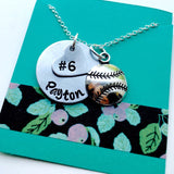 Softball Necklace, Hand Stamped Baseball Necklace, Personalized Softball Necklace, Baseball Mom, Girls Baseball Necklace, Girls Softball Nec
