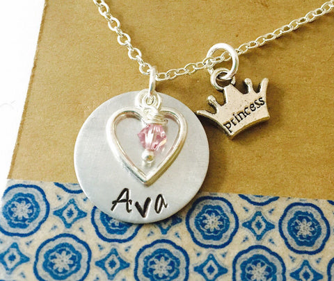 Princess Necklace, Name Necklace, Princess Crown Necklace, Little Girl Necklace, Swarovski Crystal Birthstone, Birthday Gift