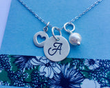 Monogram Necklace,  Sterling Silver Initial Necklace, Silver Monogram, Personalized