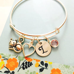 Cat Bracelet, Personalized Cat Bracelet, Cat Jewelry, Little Girls Charm Bracelet, Young Girl