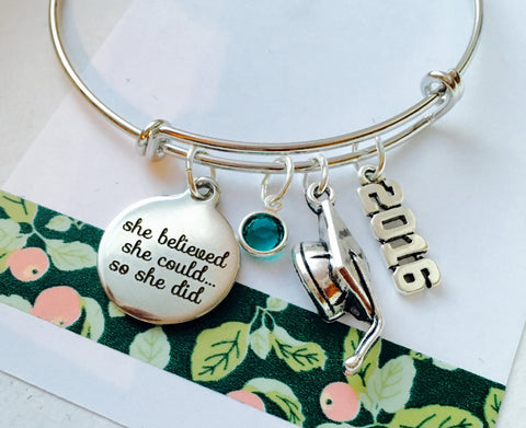 Graduation Bracelet, Class of 2016 Adjustable Bracelet, Personalized Bracelet, She believed she could so she did
