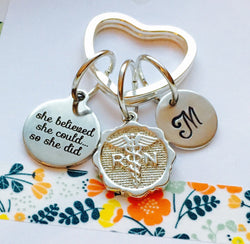 Nurse Keychain, Personalized Nurse Gift, Nursing Degree, She belived she could so she did